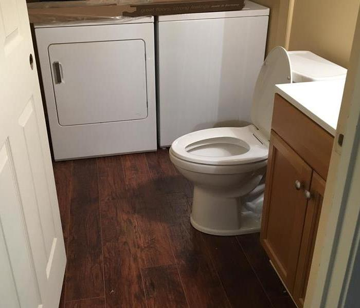 Upstairs Leak causes Water Damage in Downstairs Bathroom After
