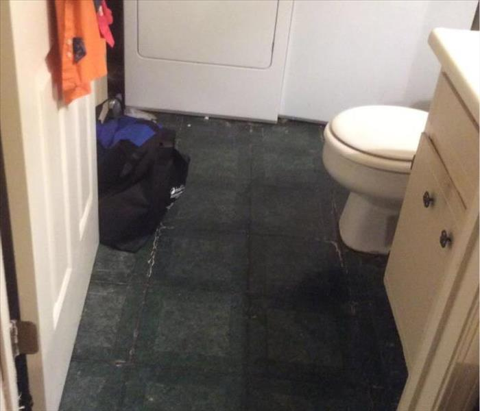 Upstairs Leak causes Water Damage in Downstairs Bathroom Before