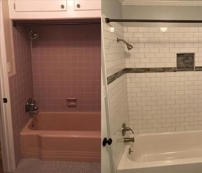 This is a before and after look at restoration and repair work in a bathroom following a water damage.